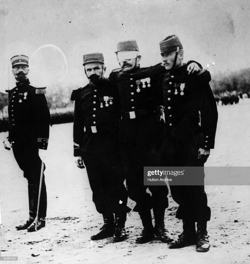 Swiss Legionnaire Haberthur, who lost his eyes fighting with the enemy before the war, is awarded the Legion d'donneur, the highest French distinction.