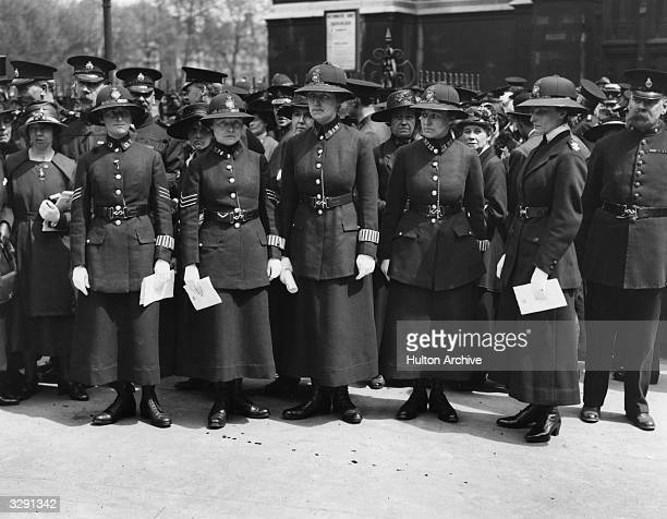 Women police on parade at a Police memorial service