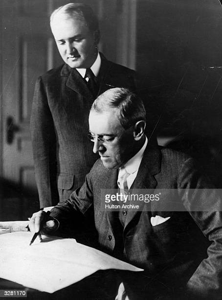 Woodrow Wilson 28th President of the United States of America with his secretary 'Joo' Tumulty A Democrat he kept America out of the 1st World War...
