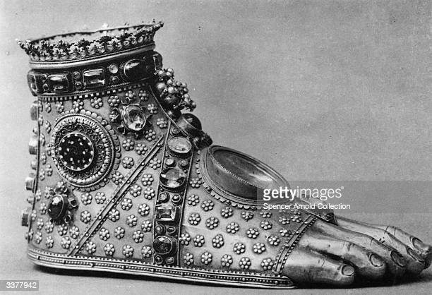 A reliquary in the form of a sandalled foot