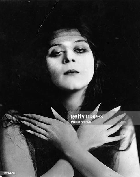 Actress Theda Bara sporting long fingernails Bara was the first actress to be called a 'vamp'