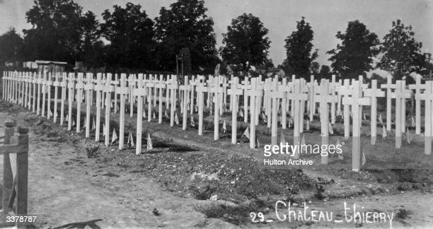American war graves at Chateau-Thierry in northern France, the site of the first decisive victory by American troops in World War I, during the...