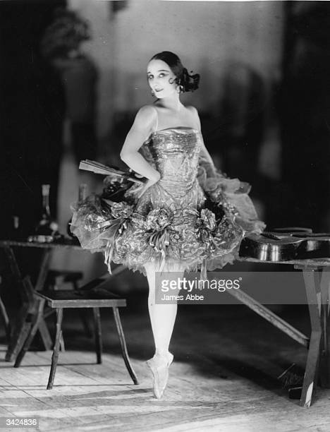Anna Pavlova wearing her costume for a ballet with a Spanish theme
