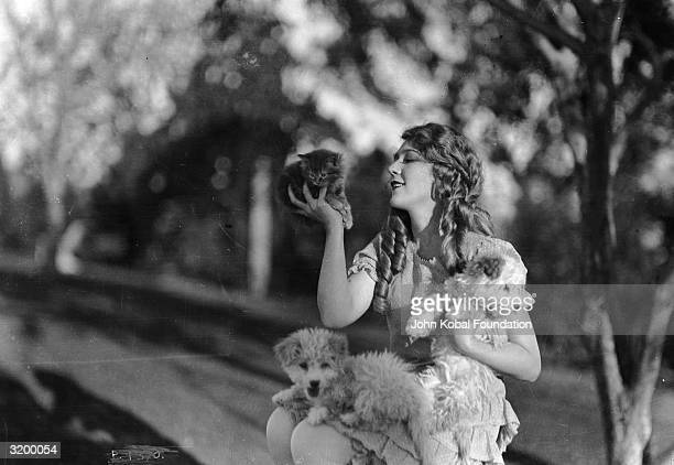 Canadian born Hollywood film star Mary Pickford in ringlets with two small terrier dogs on her lap and a kitten in the palm of her hand