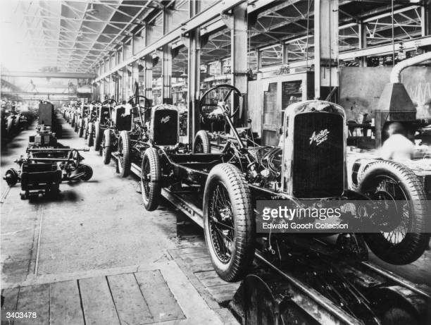 Cars on the assembly line at an Austin Six factory