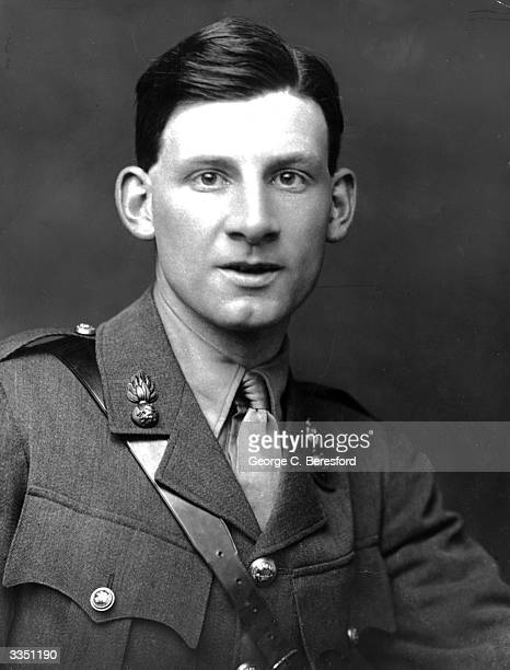 English poet and author Siegfried Sassoon wearing his army uniform. His experiences in the First World War resulted in his hatred of war, which he...