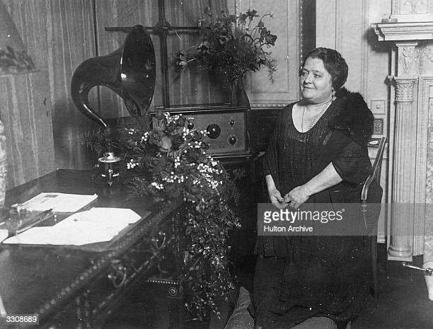 Madame Terazzini one of the greatest living singers getting ready to broadcast from her suite at the Savoy Hotel