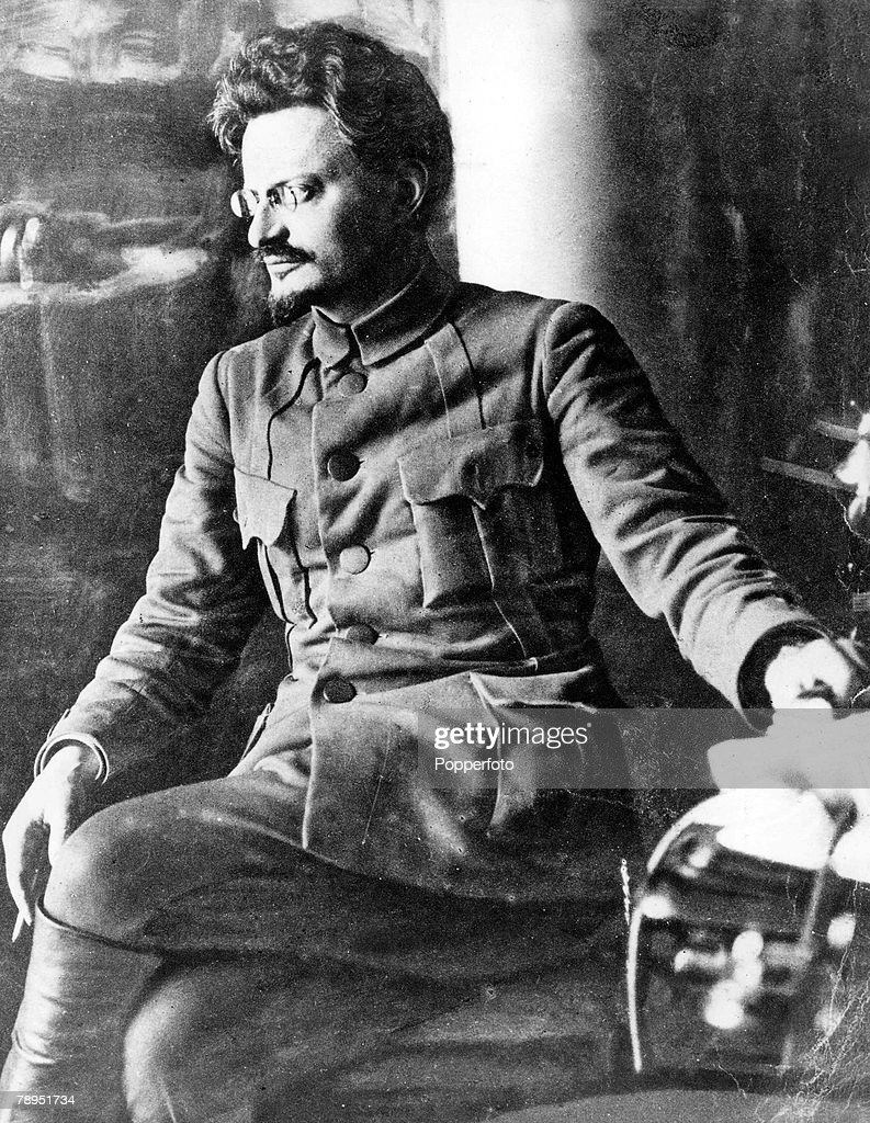 Circa 1920, Portrait of Russian revolutionary and Communist theorist Leon Trotsky 1879 - 1940 and leader of the Russian Revolution in 1917