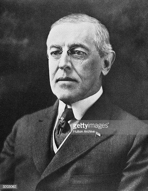 Portrait of Woodrow Wilson the twentyeighth President of the United States who served from 1913 to 1921 A signed inscription at the bottom of the...