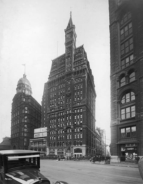 Street view of The Tribune Building on Park Row, New...