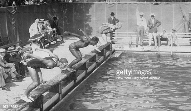 Pretty Good Reginald Harrison California high school boy tied Duke Kahanamoku in 100meter free style in the Olympic trayouts at Pasadena California...