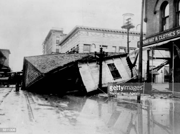 A house wrecked by the floods in Pueblo City Colorado