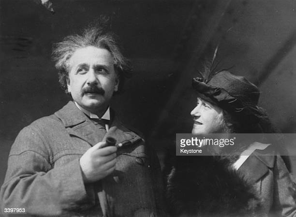 GermanSwissAmerican mathematical atomic physicist and Nobel Prize winner Albert Einstein and his wife Elsa