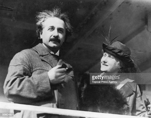 German-Swiss-American mathematical physicist Professor Albert Einstein with his wife Elsa in Egypt.