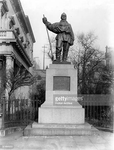 A memorial to English Antarctic explorer Sir Robert Falcon Scott in Waterloo Place London The statue was sculpted by his wife Kathleen Lady Scott