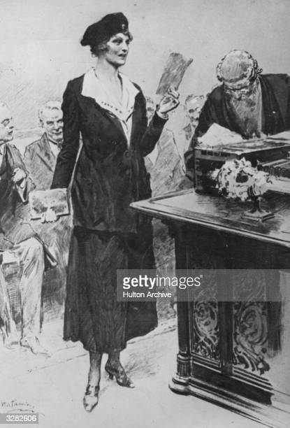 Americanborn British politician Nancy Witcher Langhorne Viscountess Astor at the dispatch box in the House of Commons She was the first woman to take...