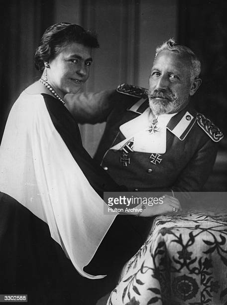 Wilhelm II of Germany Emperor from 1888 and the son of Frederick III and Victoria daughter of Queen Victoria of England with his wife whilst in exile...