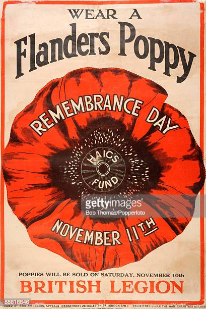 A Remembrance Day poster issued by the British Legion after World War One reminding people to wear a Flanders poppy on November 11th