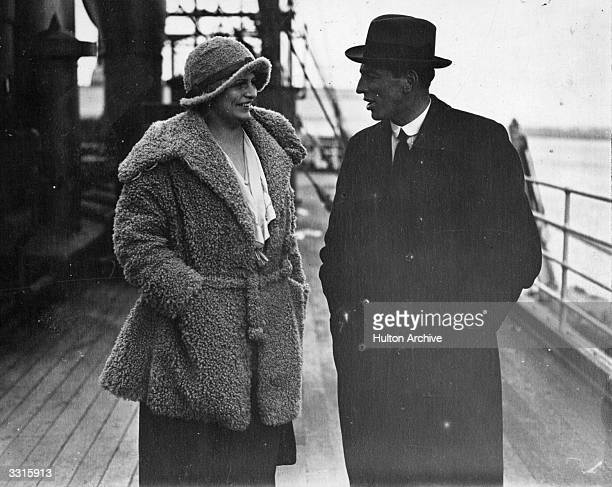 Bill McCracken of Newcastle United football team with Meta Seinemeyer of the German Opera Company on board the 'President Roosevelt' at Southampton