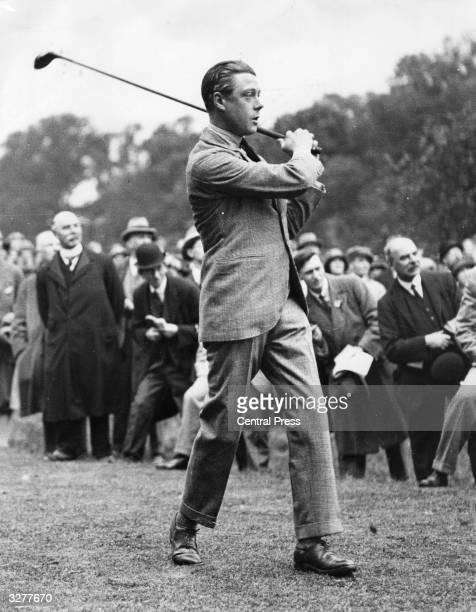 Edward, Prince of Wales, driving off at the opening of the Richmond Golf Course.
