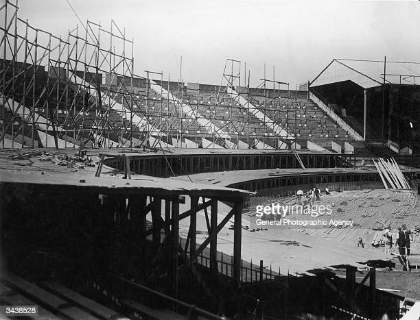 The construction of Wembley Arena in London