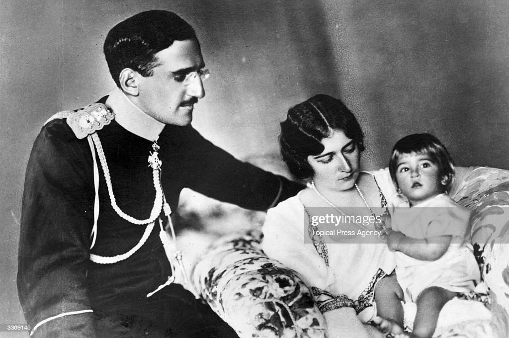 Alexander Karadjordjevic I (1888 - 1934), King of Yugoslavia (1929 - 1934), as Crown Prince Alexander of Serbia, with his wife Queen Alexandra and one of his sons.