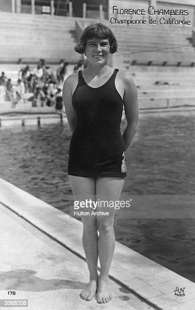 Californian champion Florence Chambers standing in her swimming costume she was fourth in the 1924 100 metre backstroke Olympic final in Paris