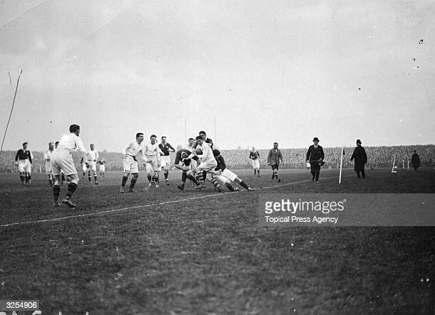 England in action against Scotland for the Rugby Union Calcutta Cup Edinburgh England and Scotland played against each other in the first...