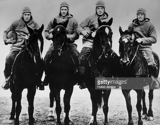 Notre Dame's Famous Four Horsemen : Don Miller , Elmer Hayden , Jim Crowley and Harry Stuhldreher .