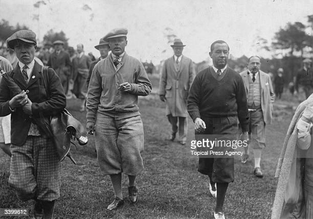 Golfer Walter Hagen winner of the USPGA and Ryder Cup Captain and his opponent Percy Alliss at Wannsee, Berlin.
