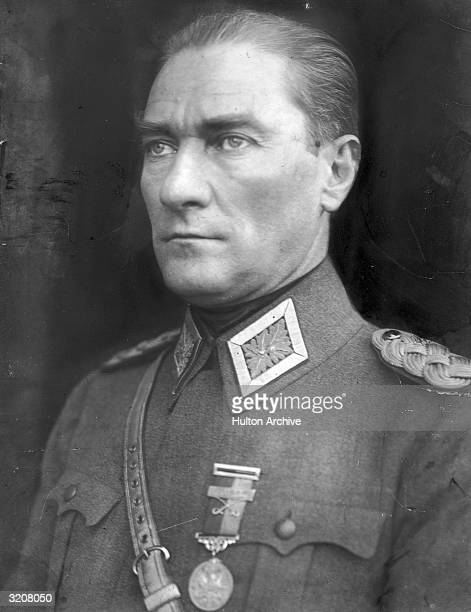 A portrait of Kemal Ataturk the founder of the modern state of Turkey in 1923 wearing a military uniform He was a general in World War I and as...