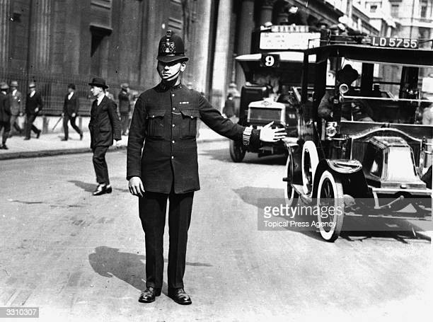 A traffic policeman in the city
