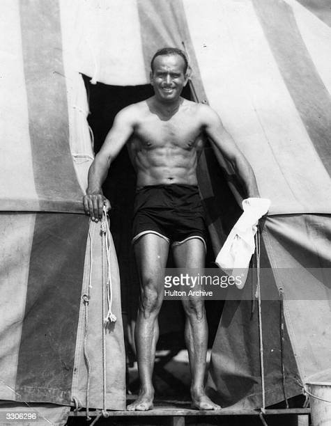 About to take a swim at the Fairbanks Beach Camp in Hollywood, American film star Douglas Fairbanks Senior .