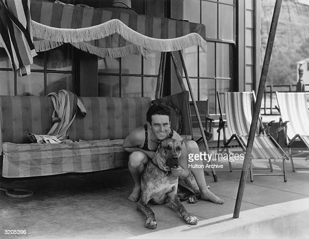 American comedian and actor Harold Lloyd with his favourite Great Dane a dog called Prince