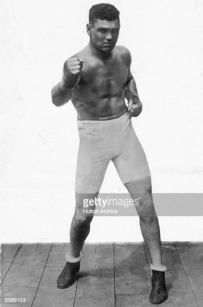 American heavyweight boxer Jack Dempsey posing for the camera