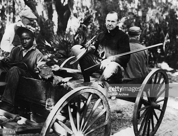 American President Calvin Coolidge on holiday on Sapelo Island in Georgia with his host Howard E Coffin returning from a hunting trip