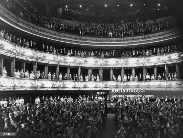 Audience at the first night of the season, the Royal Opera House, Covent Garden, London.