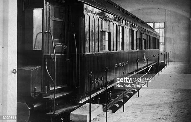 Exterior view of the dining car no 2419D in which the German and Allied forces signed the armistice treaty ending World War I in the forest of...