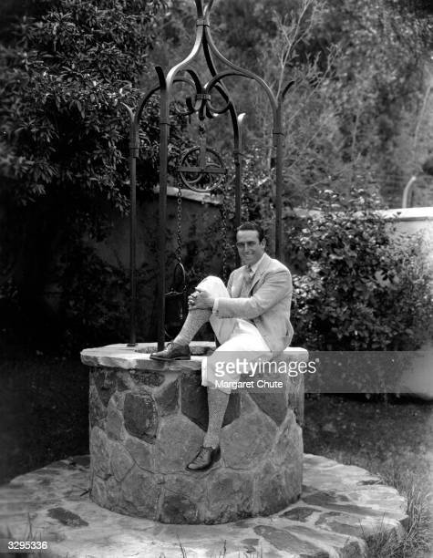 Harold Lloyd the American film comedian seen here in the garden of his Beverly Hills home