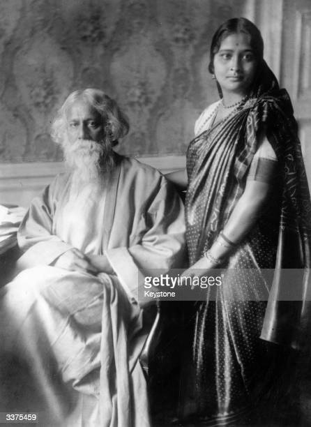 Indian poet and philosopher Rabindranath Tagore with a female companion