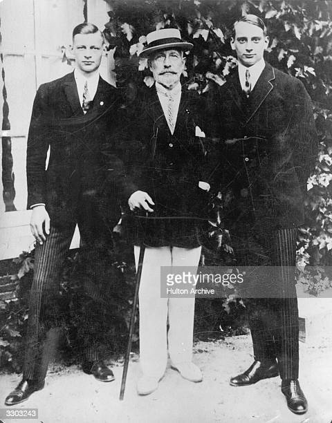 Kaiser Wilhelm II with two of his grandsons Prince Louis Ferdinand of Prussia son of the Crown Prince Friedrich Wilhelm of Prussia and Prince Wilhelm...