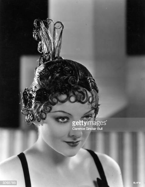 Myrna Loy the American leading lady who was awarded an Oscar in 1991 for her lifetime achievements She is wearing a lacquered wig created by Dermott...