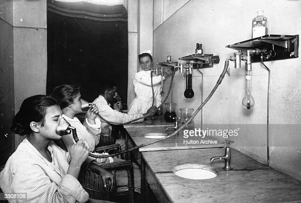 Patients in the inhalation room at a tuberculosis clinic at Friedrichstadt.