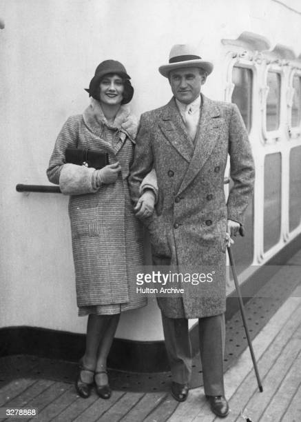 Polishborn American film producer Samuel Goldwyn with his wife actress Frances Howard on the deck of the SS Leviathan