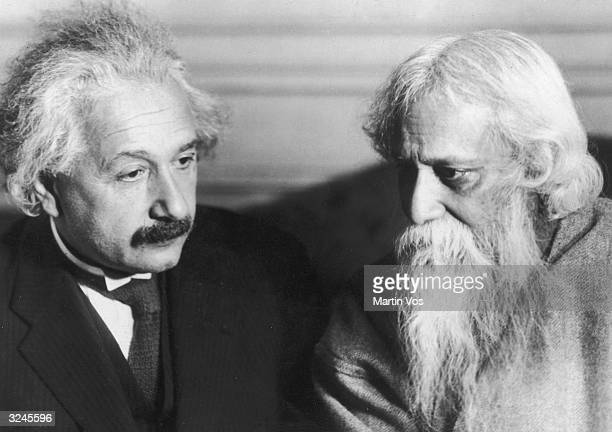 Portrait of Germanborn physicist Albert Einstein and Indian poet Sir Rabindranath Tagore 1920s