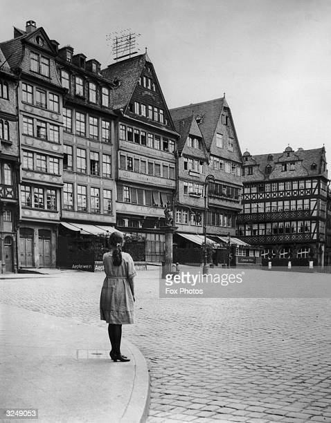Romerberg Square in the old town district of Frankfurt am Main Germany