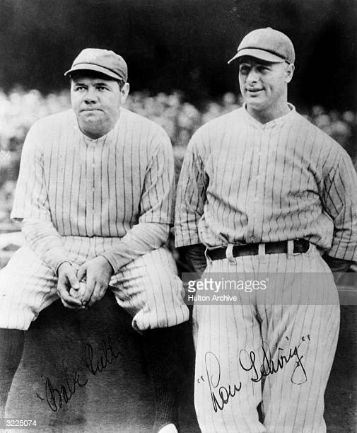 Signed photo of NY Yankees baseball players Babe Ruth and Lou Gehrig wearing their uniforms