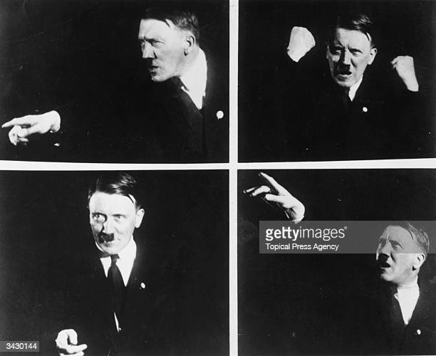 The Austrian born German dictator and leader of the Nazi Party Adolf Hitler giving a speech