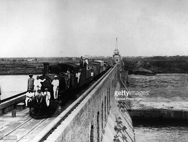 The first train to pass over the Blue Nile Dam in Sudan