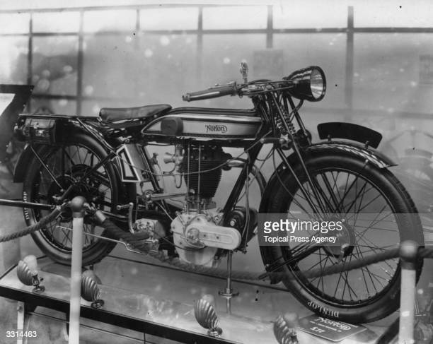 The Norton 3 1/2 HP Motorcycle on view at the Motorcycle Show at Olympia, London.